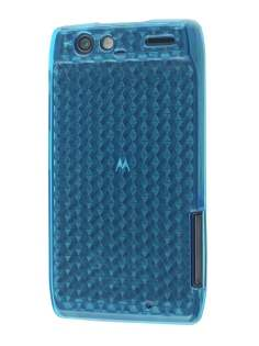Motorola RAZR TPU Gel Case - Diamond Blue Soft Cover