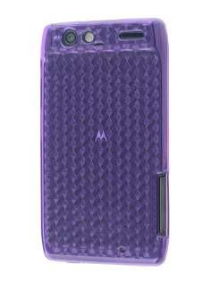 Motorola RAZR TPU Gel Case - Diamond Purple Soft Cover