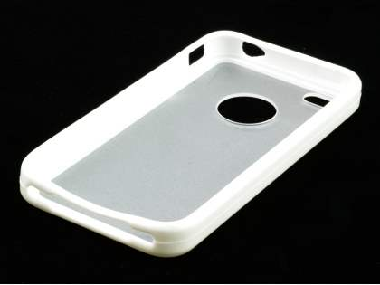 iPhone 4S Dual-Design Case - White/Frosted Clear