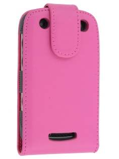 BlackBerry Curve 9360 Synthetic Leather Flip Case - Pink Leather Flip Case