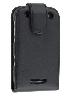 BlackBerry Curve 9360 Synthetic Leather Flip Case - Black Leather Flip Case