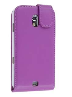 Samsung I9250 Google Galaxy Nexus Synthetic Leather Flip Case - Purple Leather Flip Case