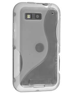 Motorola DEFY ME525 Wave Case - Frosted Clear/Clear Soft Cover