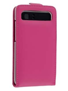 HTC Velocity 4G Genuine Leather Flip Case - Pink Leather Flip Case