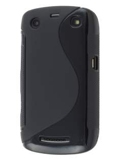 BlackBerry Curve 9360 Wave Case - Black/Frosted Black Soft Cover