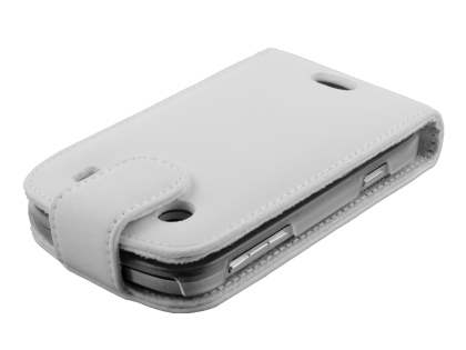 BlackBerry Bold 9900 Genuine Leather Flip Case - White