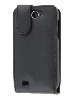 Genuine Leather Flip Case for Samsung Galaxy W I8150 - Black Leather Flip Case