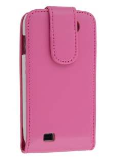 Samsung Galaxy W I8150 Synthetic Leather Flip Case - Pink Leather Flip Case