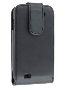 Samsung Galaxy W I8150 Synthetic Leather Flip Case - Black Leather Flip Case