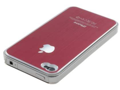 Brushed Aluminium Case for iPhone 4 only - Red