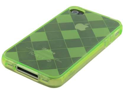 iPhone 4S Retro Checkered-Pattern TPU Case - Light Green