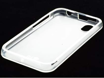 LG Optimus Black P970 Frosted Colour TPU Gel Case - Clear/Frosted Clear