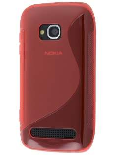 Nokia Lumia 710 Wave Case - Frosted Red/Red Soft Cover