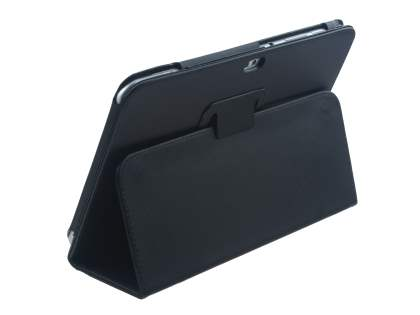 Synthetic Leather Flip Case with Fold-Back Stand for Samsung Galaxy Tab 8.9 4G - Classic Black Leather Flip Case