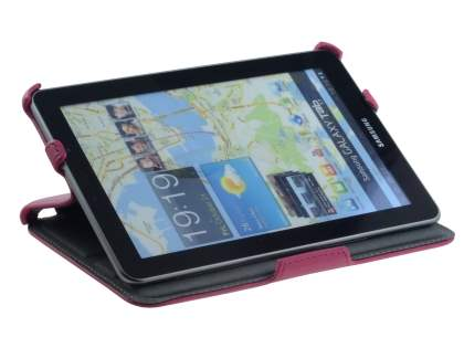Premium Samsung Galaxy Tab 7.7 P6800 Slim Synthetic Leather Flip Case with Dual-Angle Tilt Stand - Pink