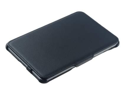Premium Samsung Galaxy Tab 7.7 P6800 Slim Synthetic Leather Flip Case with Dual-Angle Tilt Stand - Classic Black