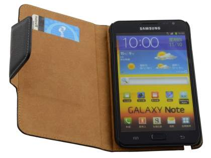 Synthetic Leather Wallet Case for Samsung I9220 Galaxy Note - Classic Black