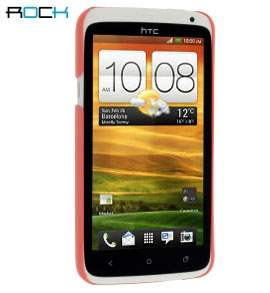 ROCK Nakedshell Glossy Colour Case for HTC One X / XL / X+  plus Screen Protector - Coral Pink