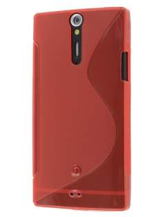 Sony Xperia S LT26i Wave Case - Frosted Red/Red Soft Cover