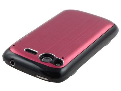 HTC Desire S Brushed Aluminium Case plus Screen Protector - Red