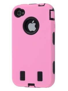 Defender Case for iPhone 4/4S - Baby Pink/Black Impact Case