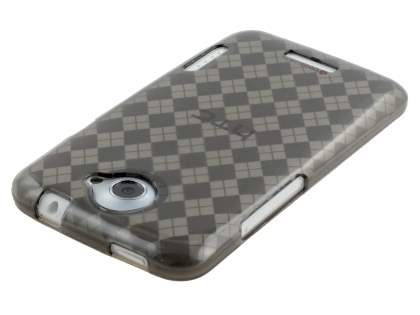 HTC One X / XL / X+ Retro Checkered-Pattern TPU Case - Grey
