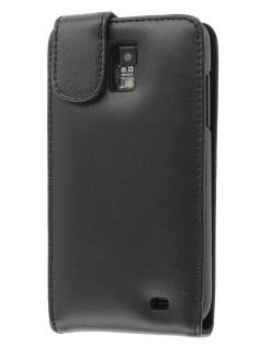 Samsung I9210T Galaxy S II 4G Genuine Leather Flip Case - Black Leather Flip Case