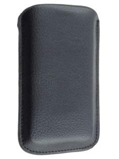 Synthetic Leather Slide-in Case with Pull-out Strap - Classic Black