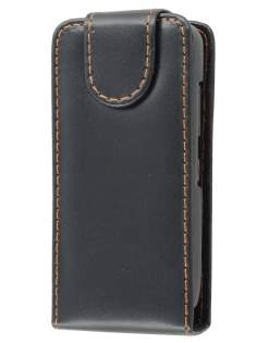 Nokia C5-03 Synthetic Leather Flip Case - Black Leather Flip Case