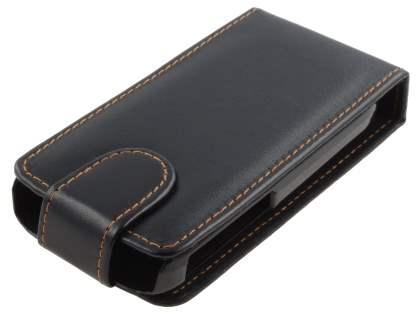 Nokia C3 Synthetic Leather Flip Case - Classic Black Leather Flip Case