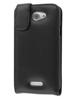 HTC One X / XL / X+ Genuine Leather Flip Case - Black Leather Flip Case