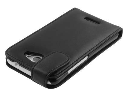 HTC One X / XL / X+ Genuine Leather Flip Case - Black