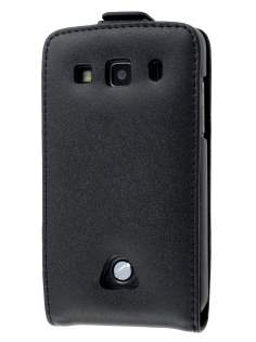 Genuine Leather Flip Case for Samsung Galaxy Xcover S5690 - Black Leather Flip Case