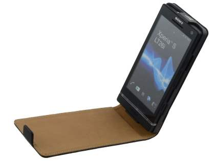 Sony Xperia S LT26i Slim Synthetic Leather Flip Case - Black