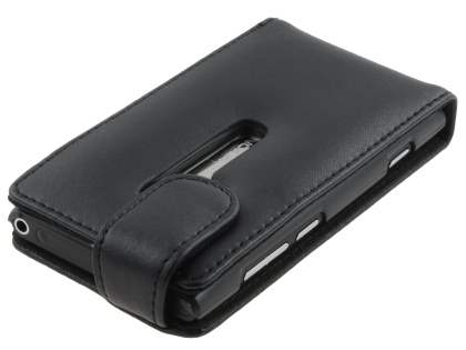 Nokia Lumia 800 Genuine Leather Flip Case - Classic Black