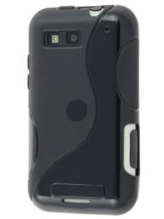 Motorola DEFY ME525 Wave Case - Frosted Black/Black Soft Cover