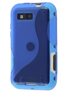 Motorola DEFY ME525 Wave Case - Frosted Blue/Blue Soft Cover