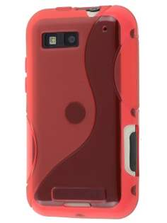 Motorola DEFY ME525 Wave Case - Frosted Red/Red Soft Cover
