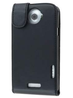 HTC One X / XL / X+ Synthetic Leather Flip Case - Black Leather Flip Case