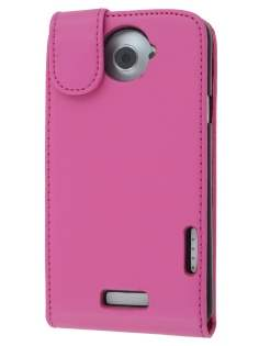 HTC One X / XL / X+ Synthetic Leather Flip Case - Pink Leather Flip Case