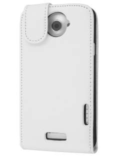 HTC One X / XL / X+ Synthetic Leather Flip Case - Pearl White Leather Flip Case