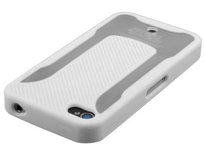 COCASES Dual-Design Case plus Screen Protector for iPhone 4S/4 - Pearl White/Clear