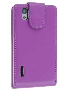 LG Prada 3.0 Synthetic Leather Flip Case - Purple Leather Flip Case