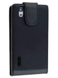 LG Prada 3.0 Synthetic Leather Flip Case - Classic Black Leather Flip Case