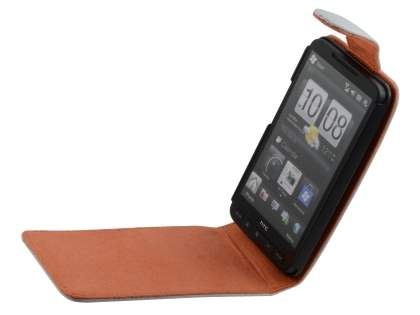 HTC Touch HD2 Genuine Leather Flip Case - White