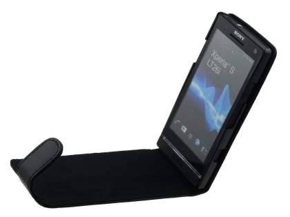 Sony Xperia S LT26i Genuine Leather Flip Case - Black