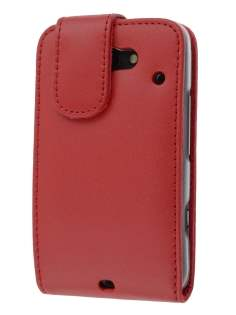 HTC ChaCha Genuine Leather Flip Case - Red Leather Flip Case
