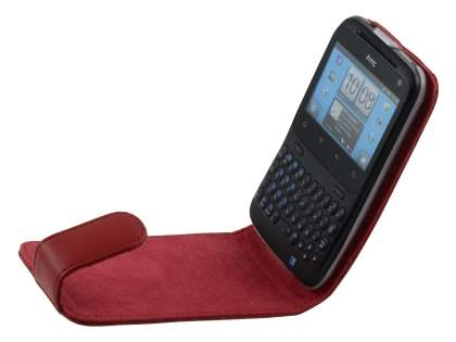HTC ChaCha Genuine Leather Flip Case - Red