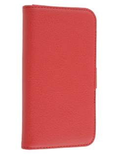 HTC One X / XL / X+ Slim Synthetic Leather Wallet Case with Stand - Red