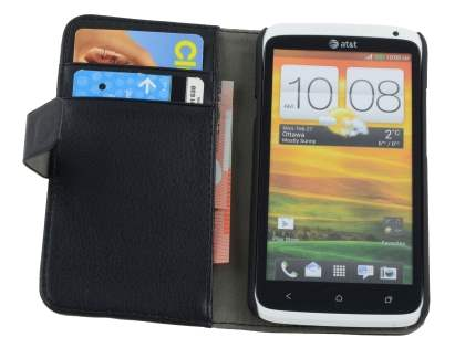 HTC One X / XL / X+ Slim Synthetic Leather Wallet Case with Stand - Black